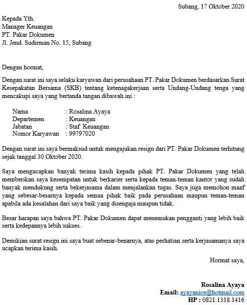 Contoh Surat Resign Yang Baik dan Benar