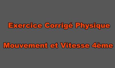 Exercice Corrigé Physique Mouvement et Vitesse 4ème
