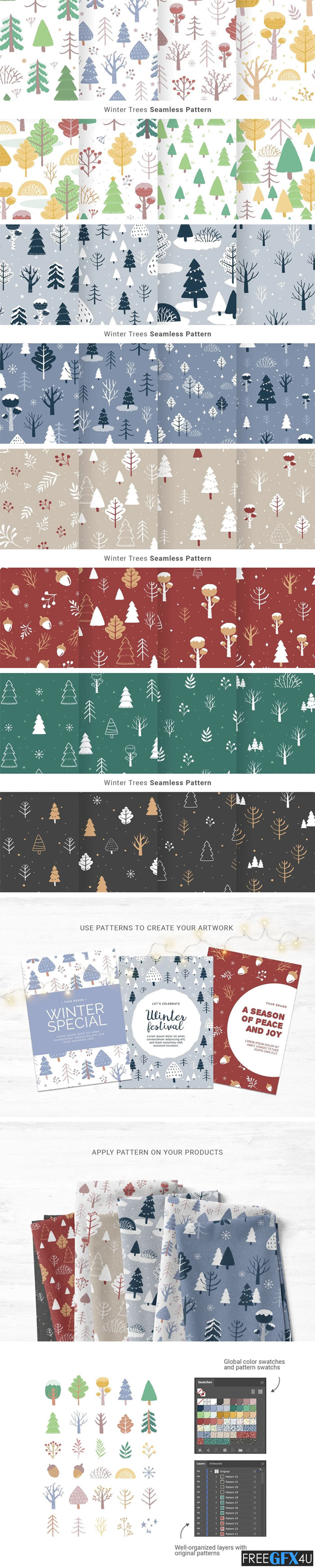 Winter Christmas Tree Pattern Pack