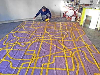 Michel Carmantrand At work on tarps, 2018-2020.