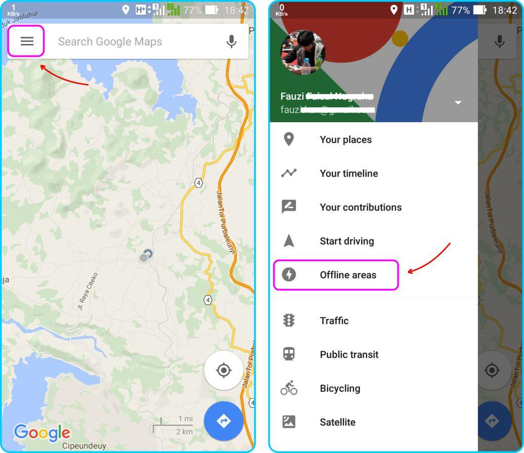 Download Offline Maps - Jalankan Aplikasi Google Maps dan Akses Sidebar