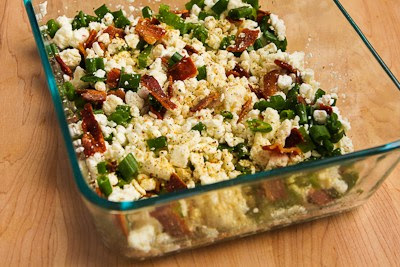 Broken Arm Breakfast Casserole with Cottage Cheese, Bacon, Feta, and Green Onions found on KalynsKitchen.com