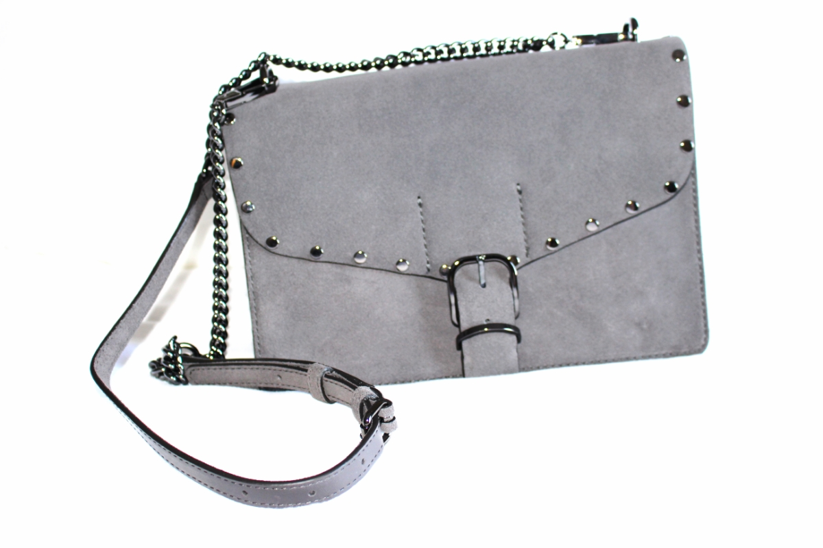 This a close up of my Rebecca Minkoff gray suede biker crossbody bag.