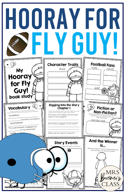 Hooray for Fly Guy book study companion activities to go with the book by Tedd Arnold. Perfect for whole class guided reading, small groups, or individual study packs. Packed with lots of fun literacy ideas and standards based guided reading activities. Common Core aligned. Grades 1-2 #bookstudies #bookstudy #novelstudy #1stgrade #2ndgrade #literacy #guidedreading #flyguy