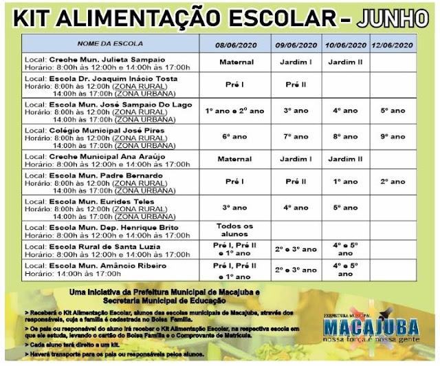 Confira o Cronograma de entrega de kits de Merenda Escolar em Macajuba