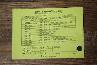 キャッシュバック用 路線バス乗車証明書