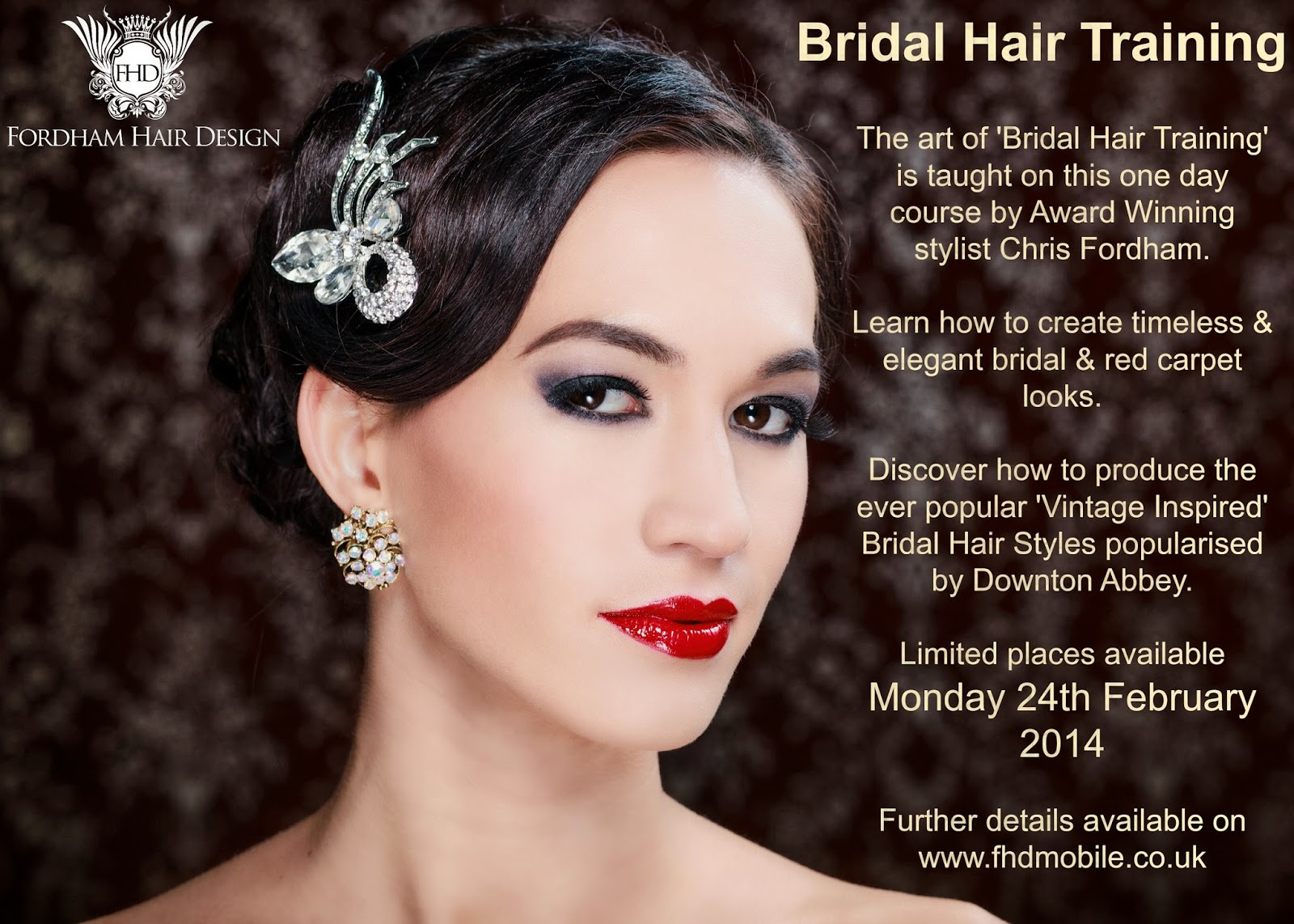 bridal hair training in gloucestershire, 'vintage' and 'red