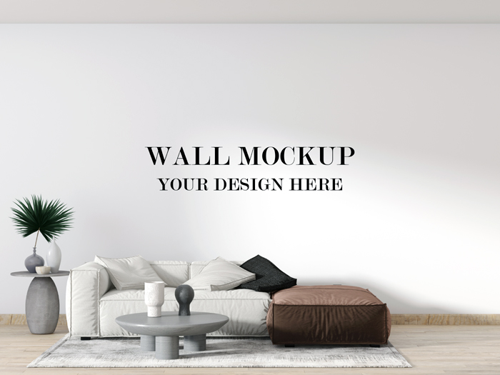 Contemporary Apartment Wall Mockup With White Brown