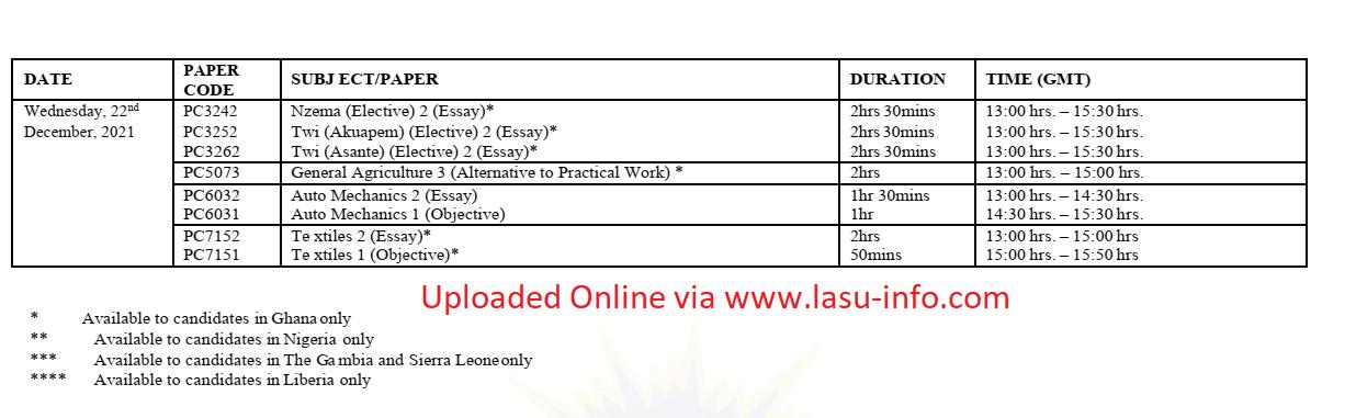 WAEC GCE Timetable   Aug/Sept. 2nd Series [1st Nov - 22nd Dec. 2021]