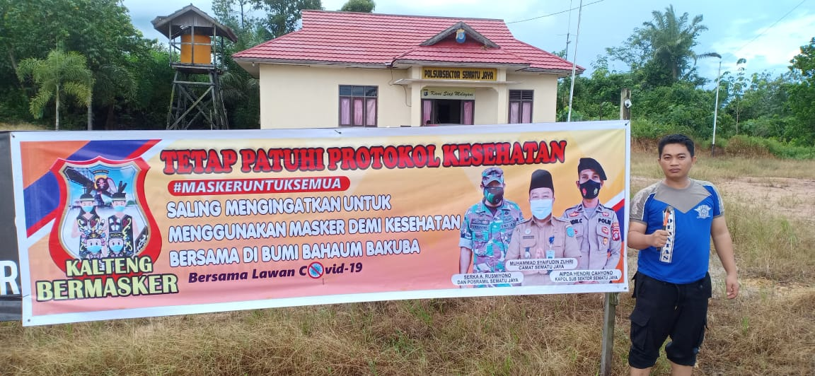 Posyan Sematu Jaya imbau Warga melalui Spanduk Ayo Bermasker