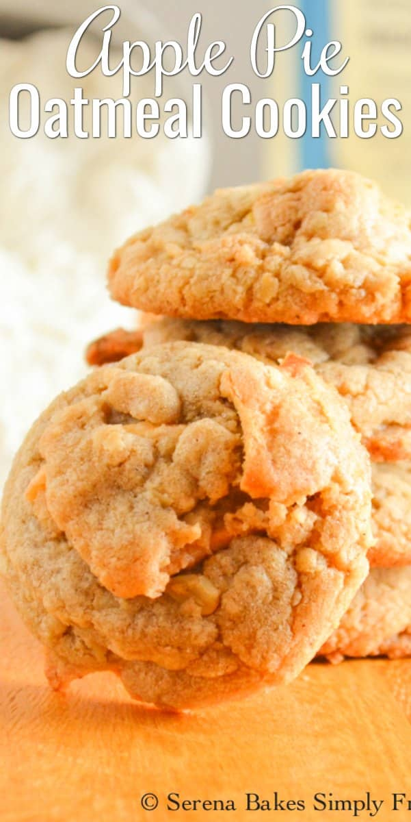 Apple Pie Oatmeal Cookies taste like a bite out of Dutch Apple Pie making this cookie recipe a fun favorite for Christmas from Serena Bakes Simply From Scratch.