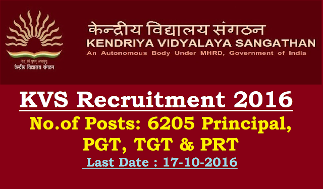 KVS Recruitment 2016 – 6205 Principal, PGT, TGT & PRT- Last Date 17-10-2016|Recruitment of Principal and other teaching posts in Kendriya Vidyalaya Sangathan|Kendriya Vidyalaya Sangathan (KVS), is an autonomous body under the MHRD which is thoroughly under the govt. of India. It had mission and vision which is totally centered at the development of the education system and create the environment that is totally for the development of the children's and the applicants under the institution. It also ensures to provide education to the remote and the areas that are not that much developed./2016/10/kendriya-vidyalaya-sangathan-kvs-recruitment-2016-6205-vacancies-principal-pgt-tgt-prt.html