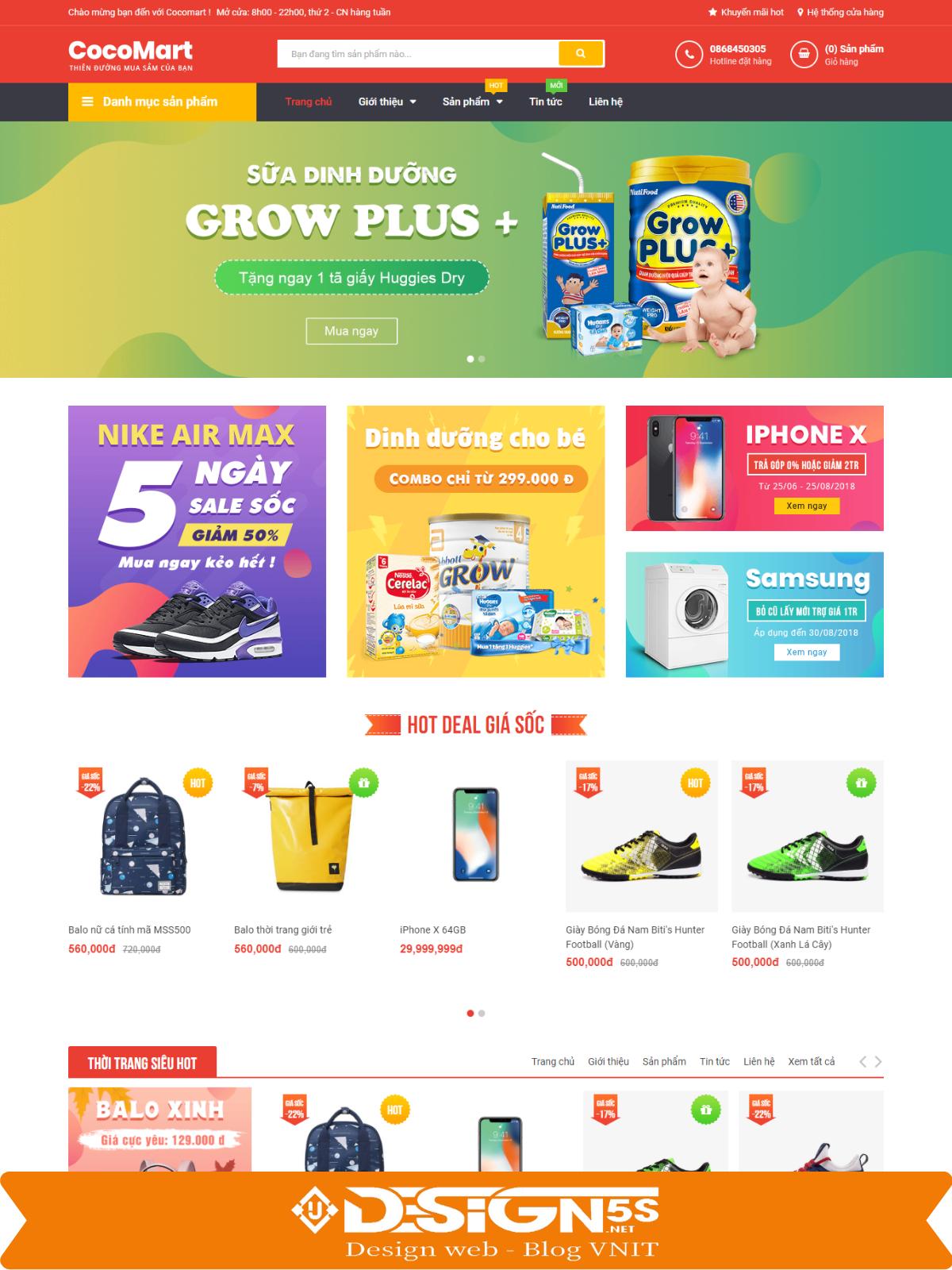 Mẫu Website bán hàng Cocomart Green chuẩn seo - Ảnh 1