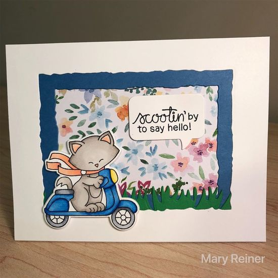 Scootin' by to say hello by Mary Reiner features Newton Scoots By by Newton's Nook Designs; #newtonsnook
