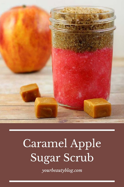 How to make a caramel apple sugar scrub recipe. This easy hand made scrubis for exfoliating the body, for hands, for legs, and for feet. This fall scrub looks cute in jars for packaging. It makes a great gift idea for Christmas, too. This simple DIY scrub uses brown sugar and white sugar. #sugarscrub #diy #diybeauty
