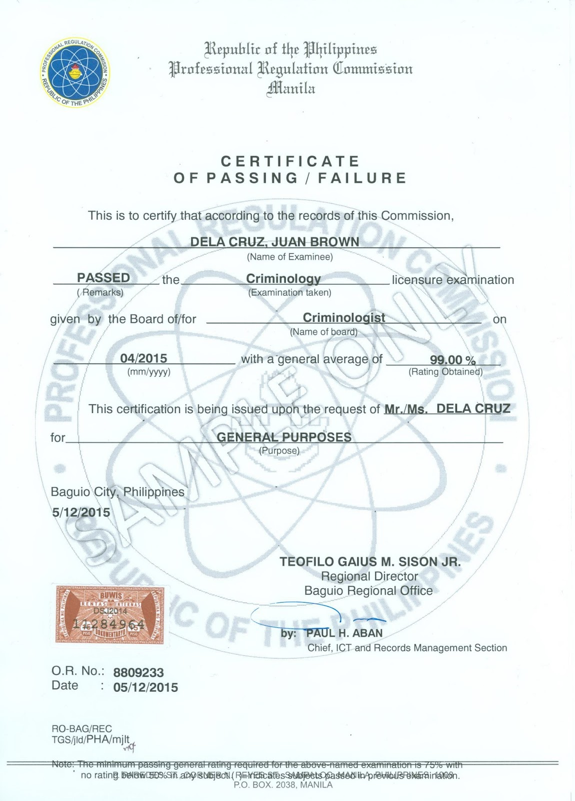 Prc baguio information site certification and authentication certificate of passing cp xflitez Gallery