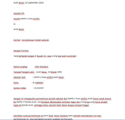 Berkas Lampiran Contoh Surat Permohonan Pindah Sekolah Lengkap Terbaru