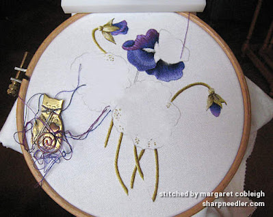 Thread painting the top pansy (Pansies designed by Trish Burr)