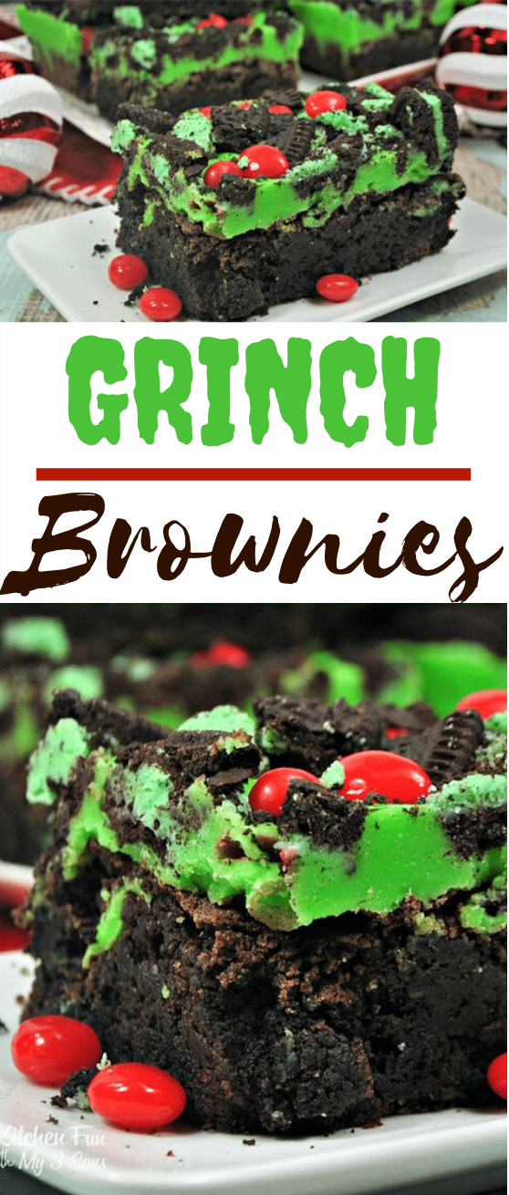 Grinch Brownies #desserts #brownies #cakes #holiday #christmas