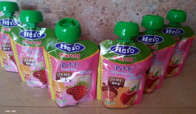 probando las bolsitas hero nanos petit de fresa y queso y de multifrutas y fresa