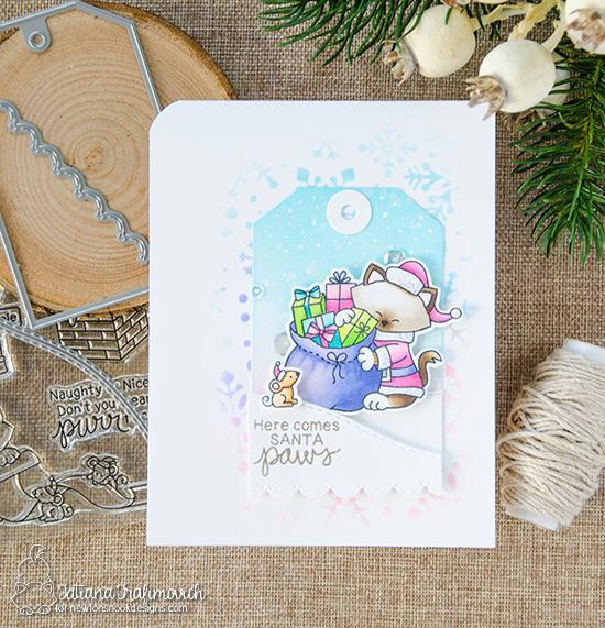 Here Comes Santa Paws Card by Tatiana Trafimovich | Santa Paws Stamp Set by Newton's Nook Designs #newtonsnook #handmade