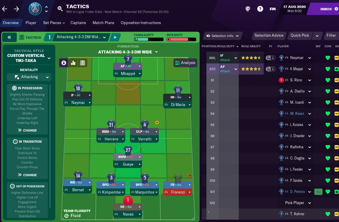 FM21 PSG Tactic - Formation