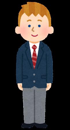 留学生のイラスト(制服・白人男性)