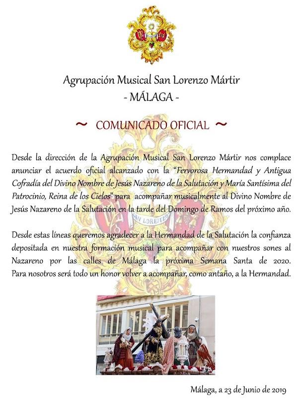 La Salutación de Málaga anuncia su banda para el 2020