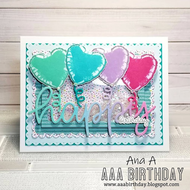 Sunny Studio Stamps: Bold Balloons Happy Word Customer Card by Ana A
