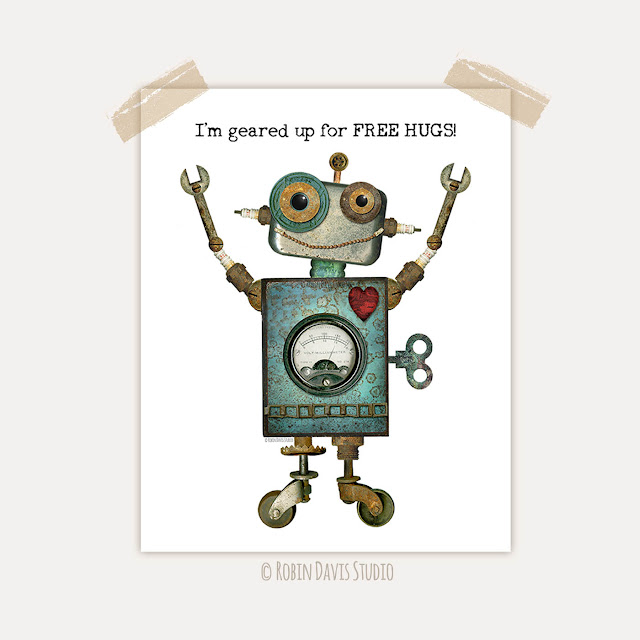 Free Hugs Robot Printable by Robin Davis Studio