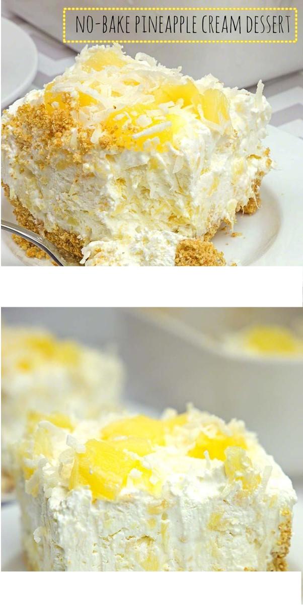 NO-BAKE PINEAPPLE CREAM DESSERT #dessertrecipes