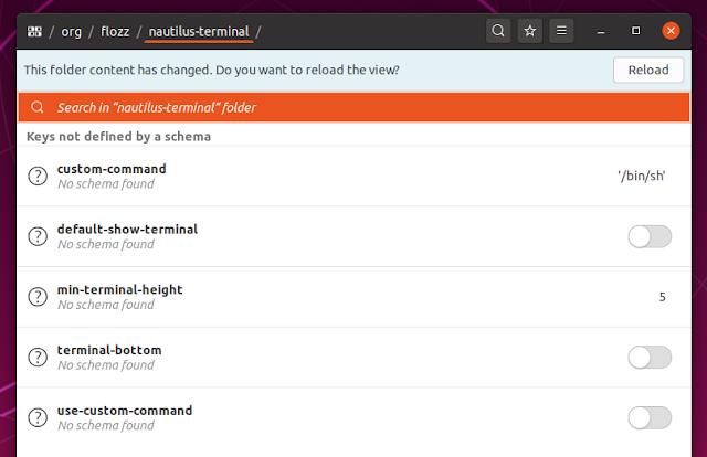 Nautilus Terminal 3 options dconf