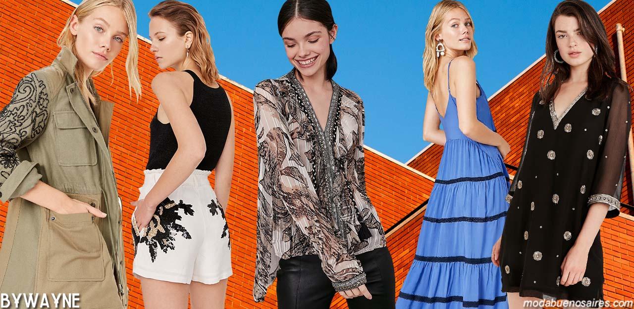Moda primavera verano 2020: abrigos, blusas. musculosas, tops, pantalones engomados, monos, vestidos primavera verano 2020. Moda 2020 verano.