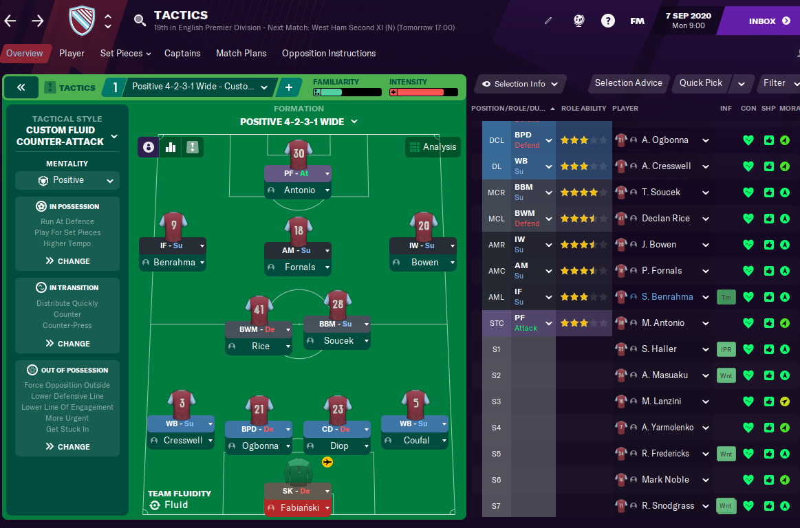 FM21 West Ham Tactic - Formation
