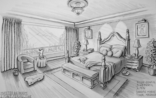 Interior Design Bedroom Sketches One Point Perspective