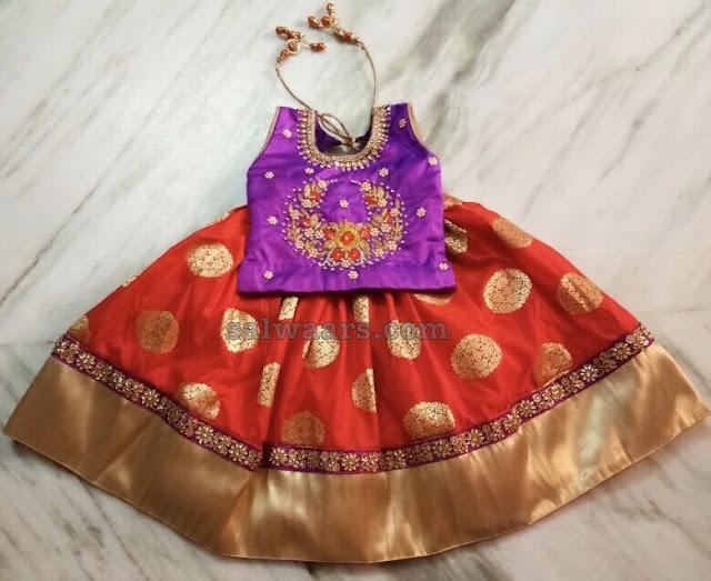 Red Benaras Lehenga Purple Blouse