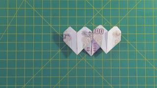Hướng dẫn cách gấp trái tim bằng tiền giấy đẹp và đơn giản