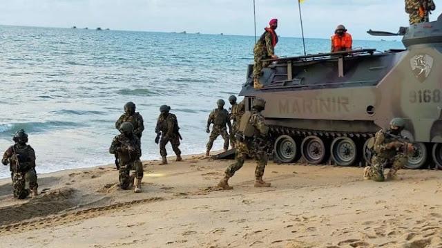 Laut China Selatan Memanas, Pasukan Marinir TNI Serbu Pulau Dabo