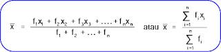 Rumus rata-rata untuk data tunggal yang telah dalam tabel distribusi frekuensi