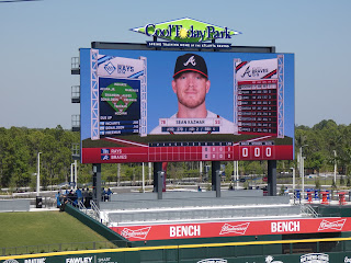 Digital scoreboard at Atlanta Braves spring training facility in The West Villages