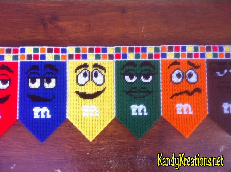 Decorate your home, kitchen, or chocolate party with this fun M&M Banner Plastic Canvas pattern.  Get all six candies in a fun, free pattern that's easy to sew.