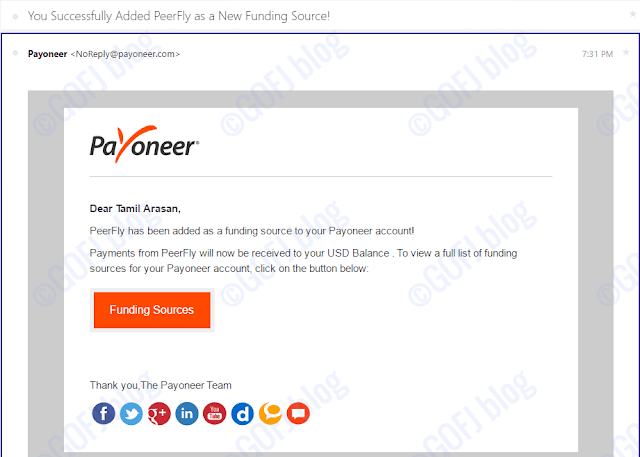 Linking funding source to the Payoneer account
