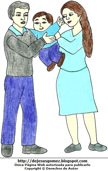 Dibujo de una familia a colores  (padres e hijo). Dibujo de la familia hecho por Jesus Gómez