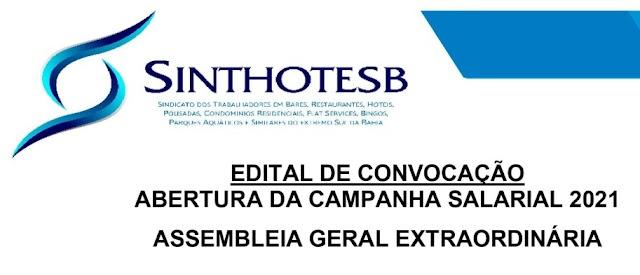 SINTHOTESB -EDITAL DE CONVOCAÇÃO - CAMPANHA SALARIAL 2021
