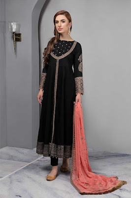 Maria B long front open embroidered black color suit