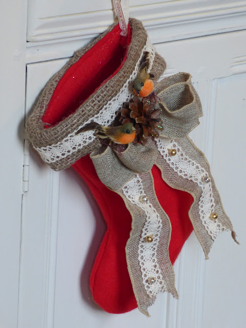 Victorian Christmas Stocking Craft Tutorial Felt Burlap