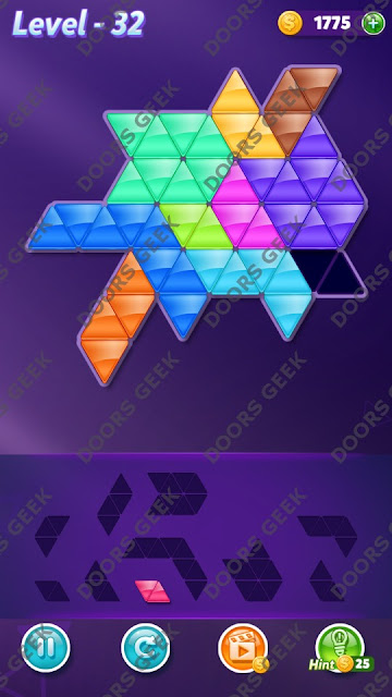 Block! Triangle Puzzle 10 Mania Level 32 Solution, Cheats, Walkthrough for Android, iPhone, iPad and iPod