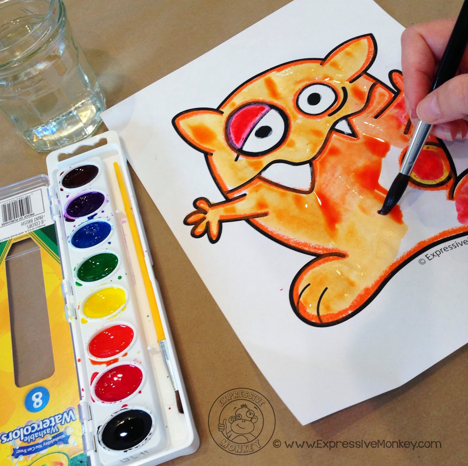Expressive Monkey demonstrates how to use watercolors, oil pastels, and plastic wrap to create a fun texture on a monster drawing.