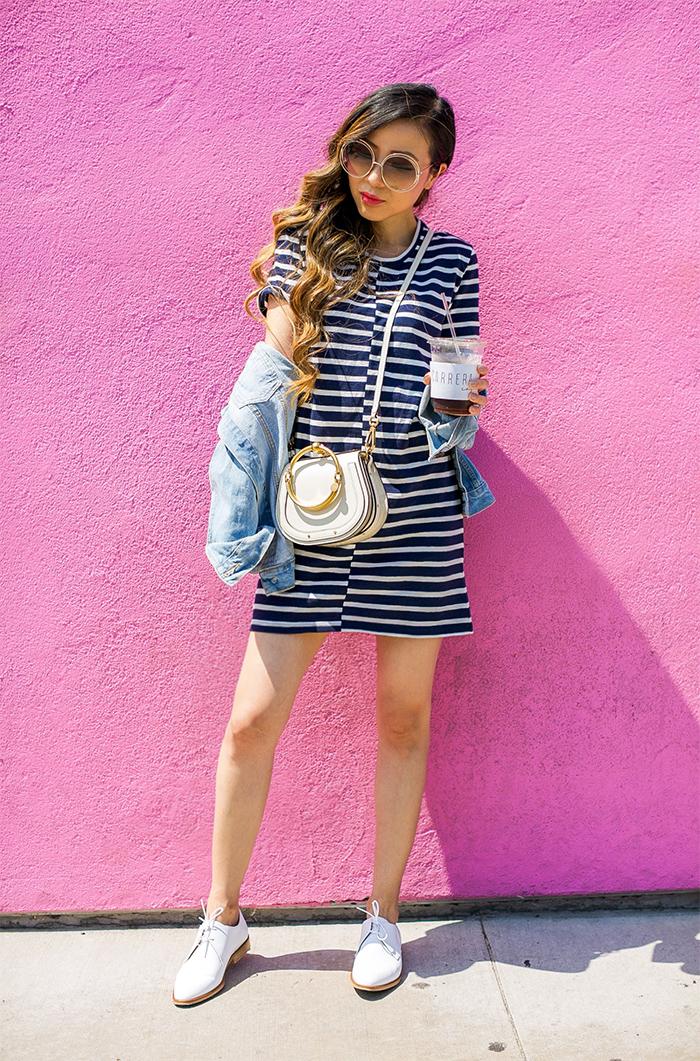 everlane stripe tee dress, chloe nile bag, chloe sunglasses, everlane modern oxfords, san francisco fashion blog, san francisco streetstyle