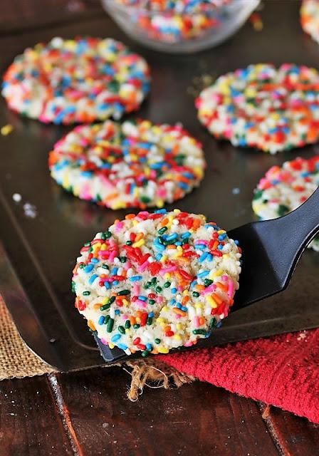 Baked Sprinkle Sugar Cookie on Spatula Image